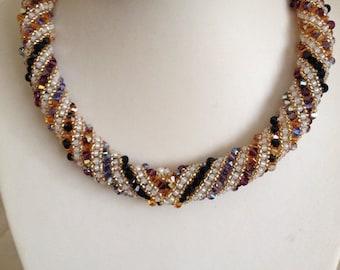 Russian Spiral Swarovski Necklace Hand Threaded