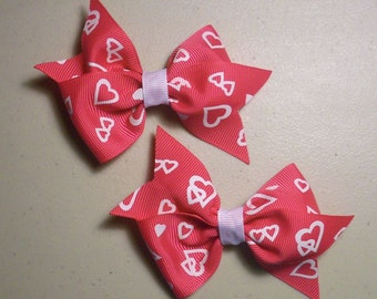 Hot Pink Heart Bow Set of 2