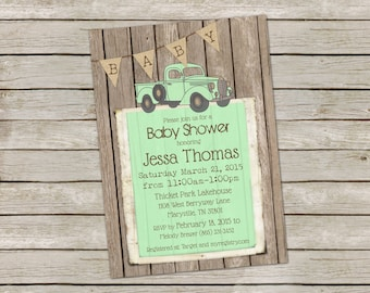 rustic baby boy shower invitation in mint over barn wood and burlap with vintage truck