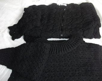 Hand Crochet Black Jumper and Cardigan