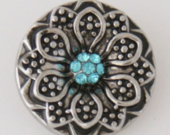 KB7765 Antiqued Silver 3D Flower w Aqua Crystal Center