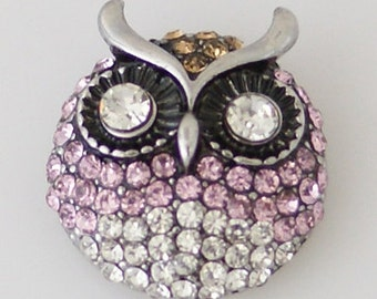 KB7957  Fabulous Crystal Owl ~ Pink and Clear Stone ~ with Large Clear Crystal Eyes