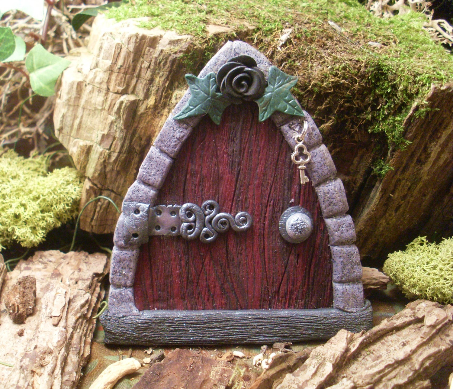 Gothic fairy door wood style with black rose and ivyfairy for Wooden fairy doors