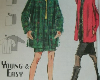Misses Very Loose Zipper Front Long Sleeve Jacket and Close Fitting Skirt sz 8-10-12-14-16-18 BURDA Young & Easy pattern 3342 Easy Sew UNCUT