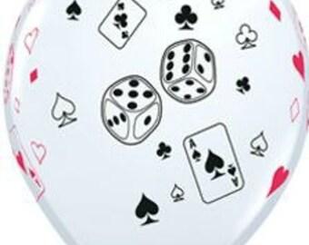 Casino party balloons Cards Balloons, Poker Balloons, Dice Balloons, Poker Tournament decorations, Bingo balloons, Texas Hold'em Balloons
