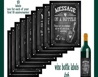 Printable Wine Labels for Message in a bottle 1st - 10th Year Anniversary labels - set of 10 different labels 4x6 size - Rustic Collection