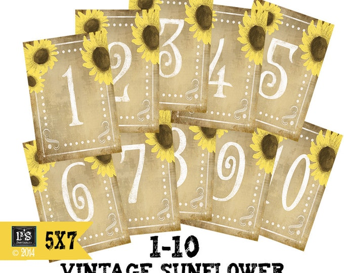 DIY Printable Table numbers for your rustic wedding #1-10 - vintage sunflower 5x7 size - instant download