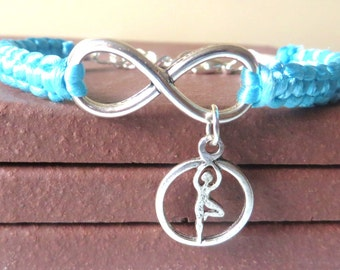 Love Yoga Athletic Charm Infinity Bracelet Yoga Charm You Choose Your Cord Color(s)