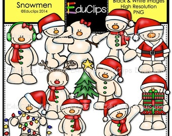 Christmas Snowmen Clip Art Bundle