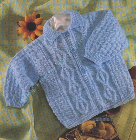 Knitting Pattern Baby Cardigan 8 Ply : Baby Collared Aran Cardigan / Sweater in DK 8 ply yarn for