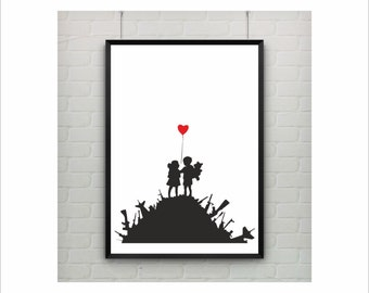 Kids on Guns by Banksy Print on paper or canvas / up to A0 size / Graffiti Poster / Street Art