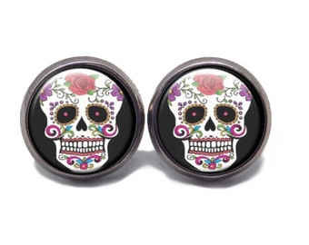 Sugar Skull Stud Earrings  Day of the Dead Stud Earrings 5 color choices