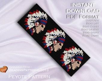 Peyote Pattern Bracelet Cuff Beading Miyuki Delica Size 11 Beads - PDF Download - USA Indian Head