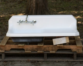 cast iron backsplash drainboard farmhouse sink 42 x 20 new ha