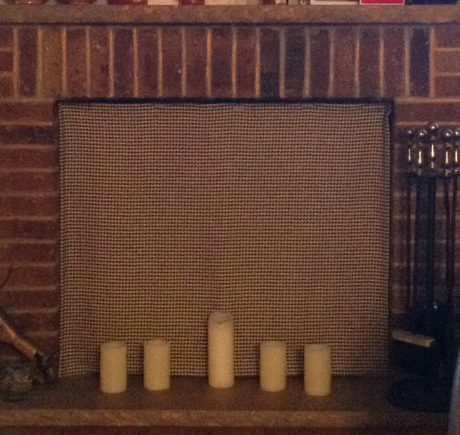 Fireplace Cover With Inserted Magnets For Metal Screens