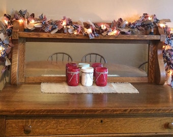 Lighted Primitive Homespun/Burlap Americana Rag Garland