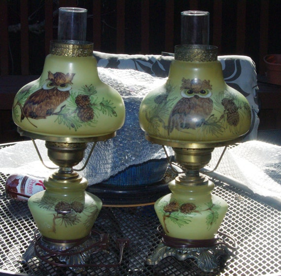 Vintage 2 Matching Owl Hurricane Table Lamps Green Brown