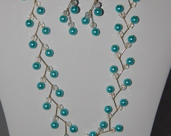 Turquoise Zig Zag Pearl Necklace and Earrings Set