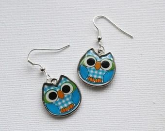 Blue owl earrings, enamel owl charms for pierced ears/Cute Owl jewellery