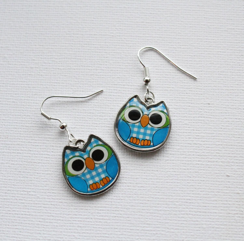 blue owl earrings enamel owl charms for pierced ears owl