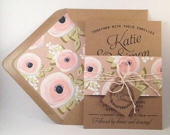 Suite de Invitation mariage Kraft, Kraft doublé enveloppes, Bakers Twine, Invitations de mariage Floral