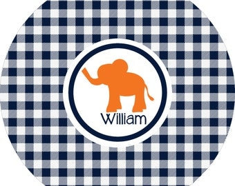 Monogrammed boys elephant navy and orange custom dinner plate.  A custom, fun and UNIQUE gift idea! Kids love eating on personalized plates!