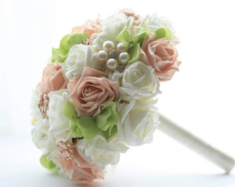 Wedding brooch bouquet rose bouquet, dusky pink, ivory with greenery, vintage wedding style, jeweled bouquet, artificial flowers