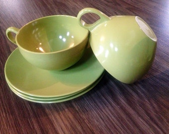 Set of 10 Vintage Avacado Melamine Assorted Cups and Saucers