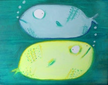 Original painting, acrylic, art, quirky, fun, cute, funny, wall art, spring, kids, children, fish,  gift, cool, outsider, funky, ocean