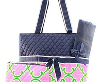 Quilted Geometric 3pc Diaper Bag Set