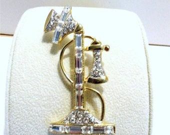 Candlestick Telephone Pin All Rhinestone Baguettes, Rounds Gold Tone