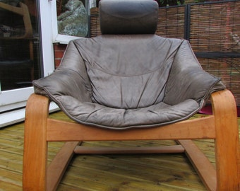 1970's Swedish Leather Lounge Chair, Kroken by Nelo matching pair available