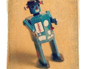 Fine Art photograph of Polaroid Transfer of toy robot