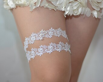 bridal garter set, wedding garter set, toss garter, lace garter, ivory rosette garter , Rhinestone pearl beaded garter set