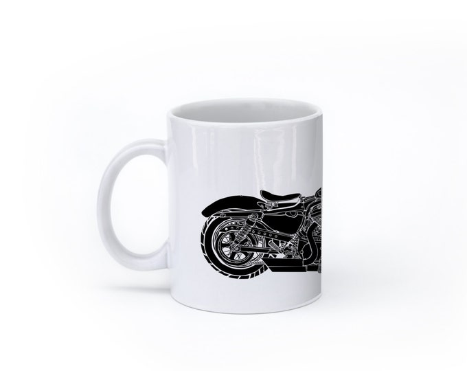 KillerBeeMoto:  U.S. Made Limited Release Modern American Classic Looking Motorcycle Mug (White)