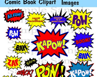 Superhero Clipart Photo booth Party Props Set - 16 Piece PRINTABLE INSTANT DOWNLOAD Superhero Clip artPersonal and Commercial Use