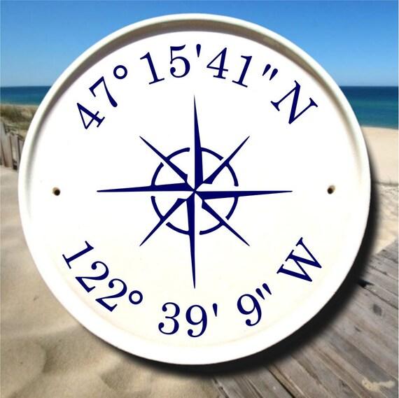 Nautical Compass Coordinates Sign Latitude Longitude Sign