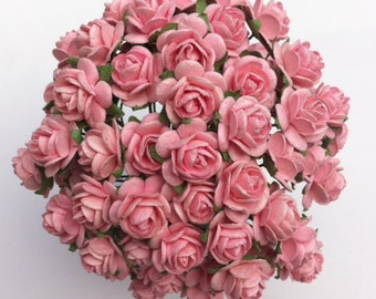 50 Baby Pink Mulberry Paper Roses 10mm (1 cm)