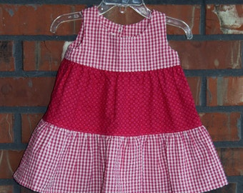 6to12months - Pink Plaid with Pink Spots Sun Dress