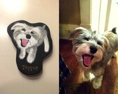 CUSTOM PET PORTRAIT Ornament or Magnet Created From Your Photo