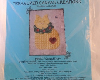 Mill Hill Holiday Treasured 18 count Canvas Creations Needlepoint Kit Quilted Kitty  FREE Shipping USA