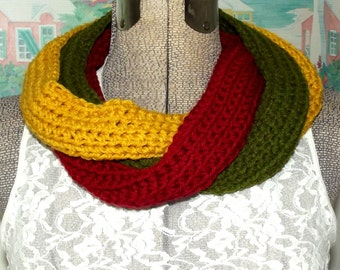 Handmade Crochet Cowl, Scarf, Collar, Chili Peppers, Green, Red, Yellow, Three Rings, Scarflet, No Ends or Fringe to Mess With