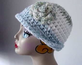 Crochet Acrylic Hat, Ladies Teens, Sweet, Ski Outdoor Activities Cap, White, Aqua, Green, Flower Embellishment