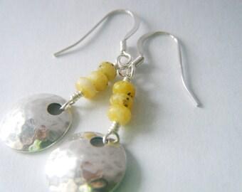 Opal earrings Opal jewelry Natural opal gemstone earrings Sterling silver Pastel earrings Hammered sterling earrings October birthstone
