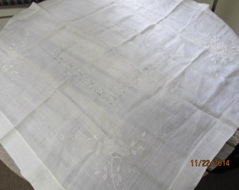 "Vintage Antique Hand Sewn  Embroidered Tablecloth 32"" x 32"" White Lace    Make a Wish Listing"