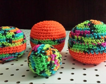 Toys (crocheted balls with bells) 4 balls for babies -  human/animals