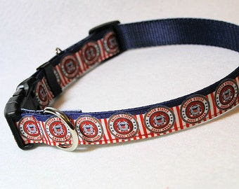 U.S. Coast Guard Adjustible Ribbon Dog Collar, with Optional Leash