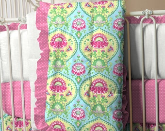 Girl Baby Crib Bedding:Aqua and Bright Pink Floral 3-Piece Crib Bedding Set by Carousel Designs