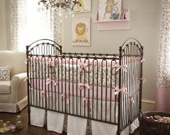 Girl Baby Crib Bedding: Pink and Taupe Leopard 4-Piece Crib Bedding Set by Carousel Designs