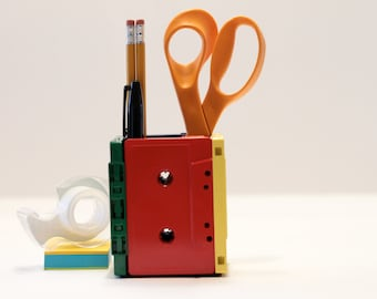 Rubix Cube Retro Cassette Tape Pen/Pencil Holder